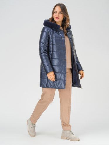 Кожаная куртка эко-кожа 100% П/А, цвет темно-синий, арт. 26810785  - цена 14190 руб.  - магазин TOTOGROUP