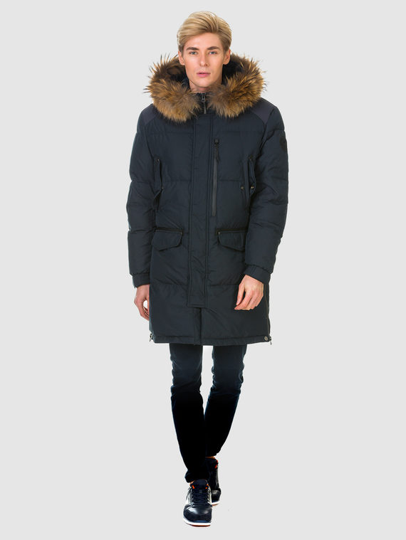Пуховик текстиль, цвет темно-синий, арт. 26901005  - цена 6630 руб.  - магазин TOTOGROUP