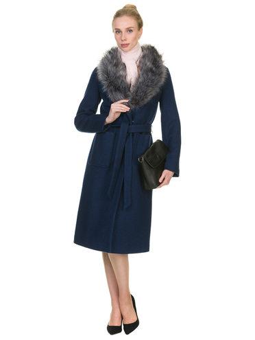 Текстильное пальто 30%шерсть, 70% п\а, цвет темно-синий, арт. 26901139  - цена 3990 руб.  - магазин TOTOGROUP