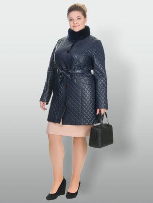 Кожаное пальто эко кожа 100% П/А, цвет темно-синий, арт. 26902644  - цена 11990 руб.  - магазин TOTOGROUP