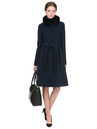 Текстильное пальто 50%шерсть, 50% п/а, цвет темно-синий, арт. 26902696  - цена 11290 руб.  - магазин TOTOGROUP