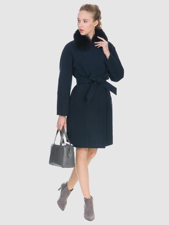 Текстильное пальто 50%шерсть, 50% п/а, цвет темно-синий, арт. 26902698  - цена 6990 руб.  - магазин TOTOGROUP