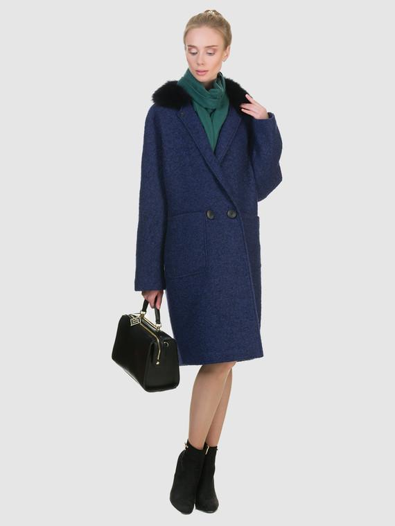 Текстильное пальто 70%шерсть,30%п,а, цвет темно-синий, арт. 26902700  - цена 6990 руб.  - магазин TOTOGROUP