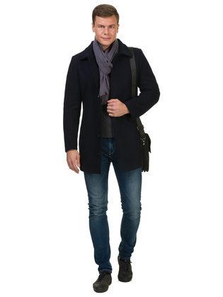 Текстильное пальто 51% п/э,49%шерсть, цвет темно-синий, арт. 26902747  - цена 8490 руб.  - магазин TOTOGROUP