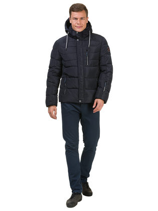 Пуховик текстиль, цвет темно-синий, арт. 26902759  - цена 4740 руб.  - магазин TOTOGROUP
