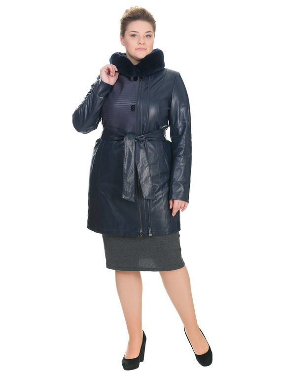 Кожаное пальто эко кожа 100% П/А, цвет темно-синий, арт. 26902764  - цена 7490 руб.  - магазин TOTOGROUP