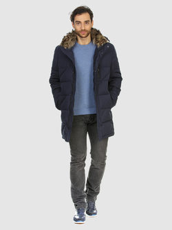 Пуховик текстиль, цвет темно-синий, арт. 26902776  - цена 7990 руб.  - магазин TOTOGROUP