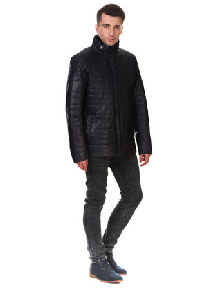 Кожаная куртка кожа овца, цвет темно-синий, арт. 26902865  - цена 16990 руб.  - магазин TOTOGROUP