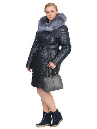 Кожаное пальто кожа овца, цвет темно-синий, арт. 26902936  - цена 28490 руб.  - магазин TOTOGROUP