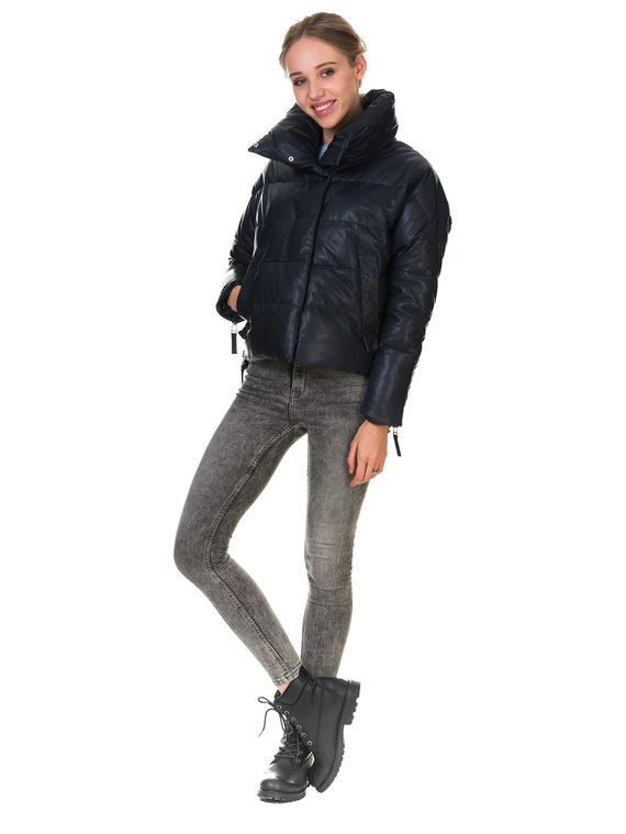 Кожаная куртка кожа , цвет темно-синий, арт. 26903458  - цена 10590 руб.  - магазин TOTOGROUP