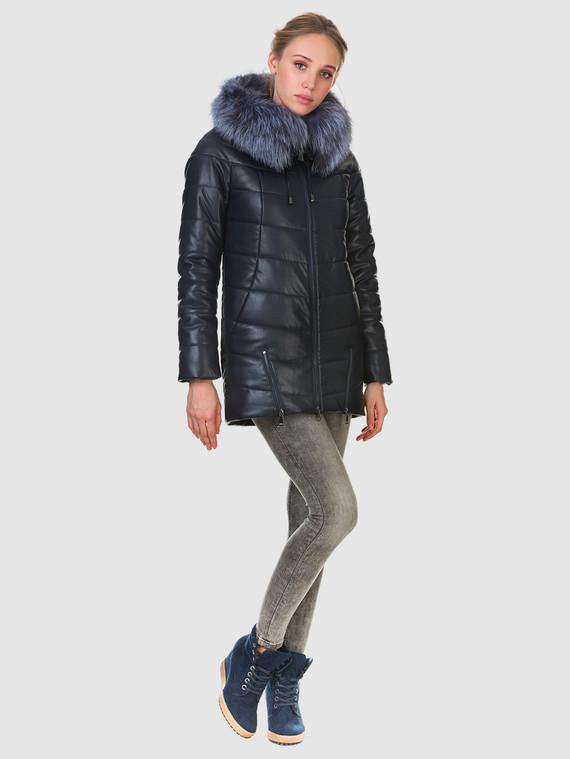 Кожаная куртка эко кожа 100% П/А, цвет темно-синий, арт. 26903466  - цена 11290 руб.  - магазин TOTOGROUP
