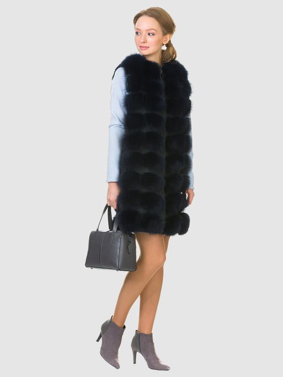Меховой жилет мех песец, цвет темно-синий, арт. 26903481  - цена 15990 руб.  - магазин TOTOGROUP