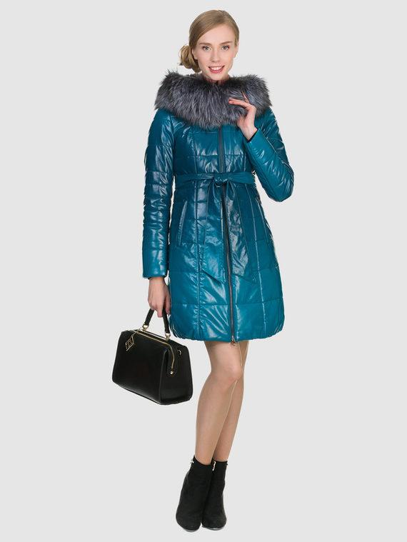 Кожаное пальто эко кожа 100% П/А, цвет бирюзовый, арт. 27902657  - цена 11990 руб.  - магазин TOTOGROUP