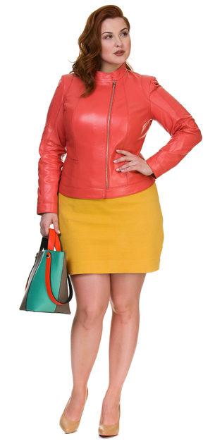 Кожаная куртка кожа овца, цвет коралловый, арт. 28700383  - цена 14990 руб.  - магазин TOTOGROUP