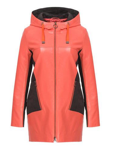 Кожаное пальто эко-кожа 100% П/А, цвет коралловый, арт. 28810197  - цена 5890 руб.  - магазин TOTOGROUP