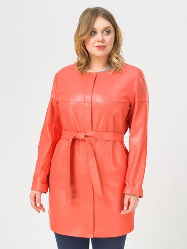 Кожаное пальто эко-кожа 100% П/А, цвет коралловый, арт. 28810198  - цена 8990 руб.  - магазин TOTOGROUP