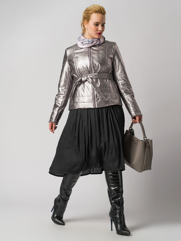 Кожаная куртка эко кожа 100% П/А, цвет серый металлик, арт. 29005936  - цена 5290 руб.  - магазин TOTOGROUP