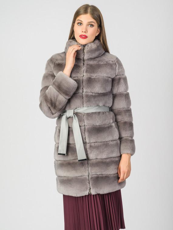 Шуба из кролика мех кролик, цвет светло-серый, арт. 29007223  - цена 33990 руб.  - магазин TOTOGROUP