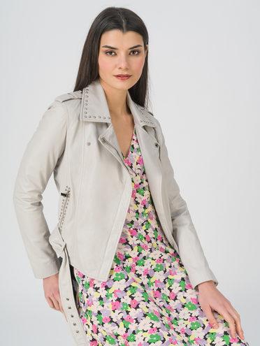 Кожаная куртка кожа, цвет светло-серый, арт. 29802460  - цена 9490 руб.  - магазин TOTOGROUP