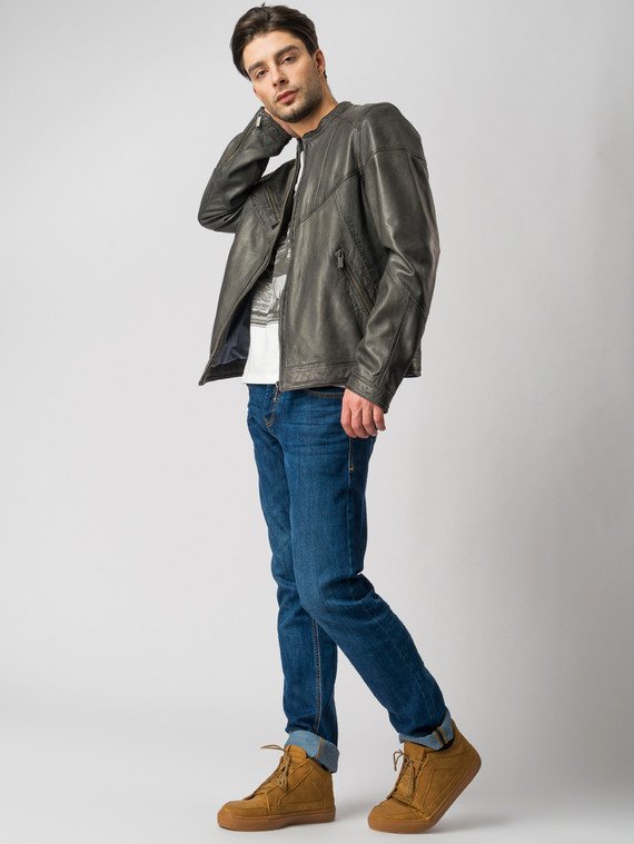 Кожаная куртка кожа , цвет темно-серый, арт. 30003413  - цена 11290 руб.  - магазин TOTOGROUP
