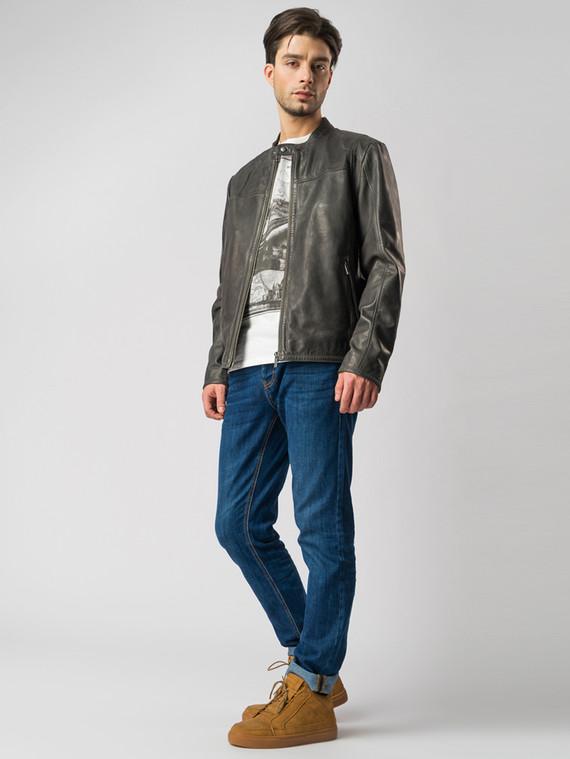 Кожаная куртка кожа , цвет темно-серый, арт. 30003414  - цена 13390 руб.  - магазин TOTOGROUP