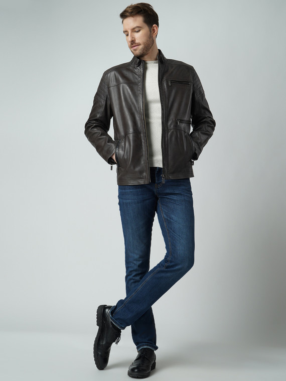 Кожаная куртка кожа , цвет темно-серый, арт. 30003420  - цена 15990 руб.  - магазин TOTOGROUP