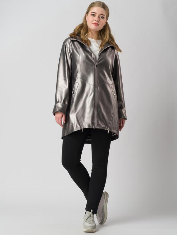 Кожаное пальто эко кожа 100% П/А, цвет серый металлик, арт. 30005939  - цена 6630 руб.  - магазин TOTOGROUP