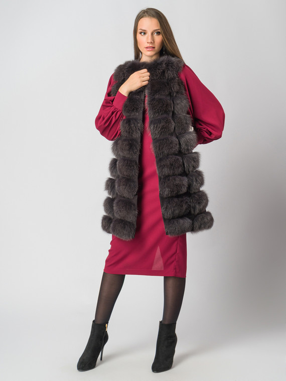 Меховой жилет мех песец, цвет темно-коричневый, арт. 30006358  - цена 18990 руб.  - магазин TOTOGROUP