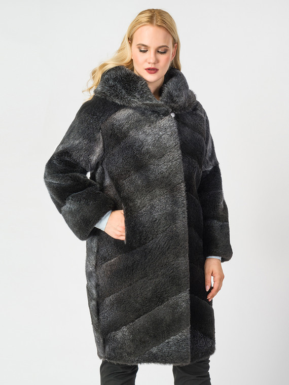 Шуба из нутрии мех нутрия, цвет темно-серый, арт. 30006666  - цена 42490 руб.  - магазин TOTOGROUP