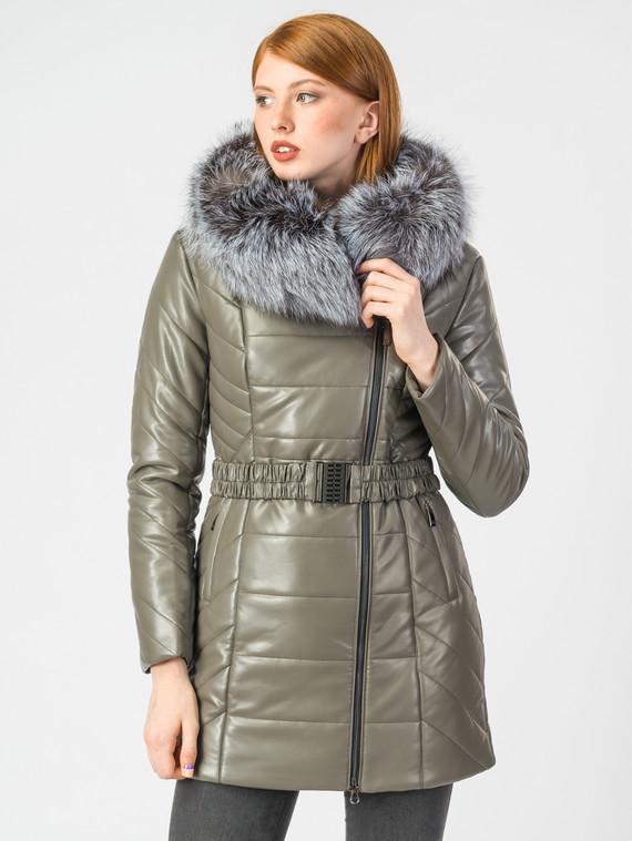 Кожаная куртка эко-кожа 100% П/А, цвет серый, арт. 30006877  - цена 8990 руб.  - магазин TOTOGROUP