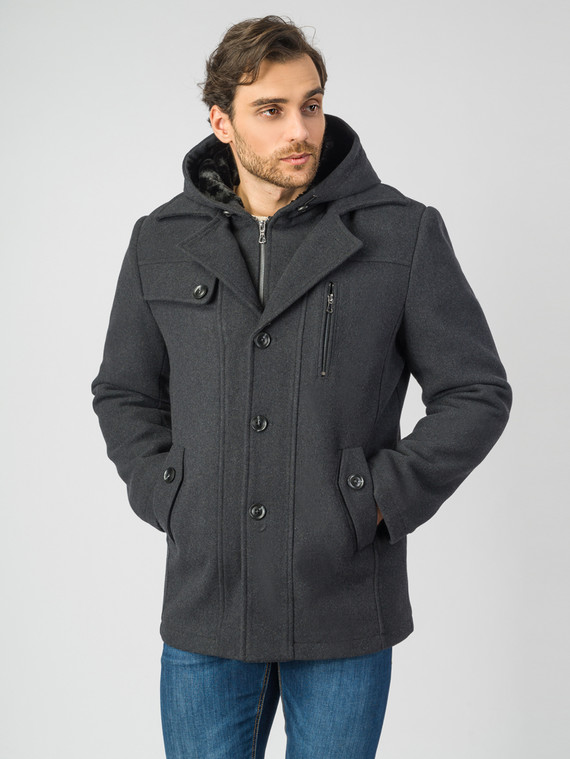 Текстильное пальто 51% п/э,49%шерсть, цвет темно-серый, арт. 30007028  - цена 7490 руб.  - магазин TOTOGROUP