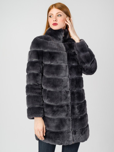 Шуба из кролика мех кролик, цвет темно-серый, арт. 30007222  - цена 44990 руб.  - магазин TOTOGROUP