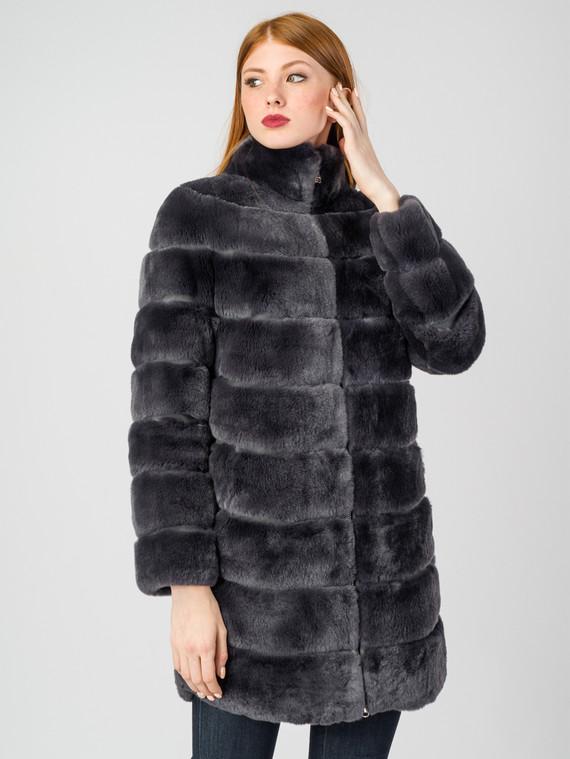 Шуба из кролика мех кролик, цвет темно-серый, арт. 30007222  - цена 37990 руб.  - магазин TOTOGROUP
