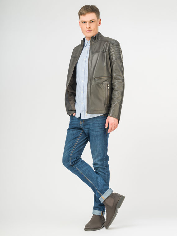 Кожаная куртка кожа, цвет темно-серый, арт. 30106183  - цена 7990 руб.  - магазин TOTOGROUP