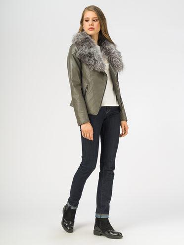 Кожаная куртка эко-кожа 100% П/А, цвет темно-серый, арт. 30108569  - цена 9990 руб.  - магазин TOTOGROUP