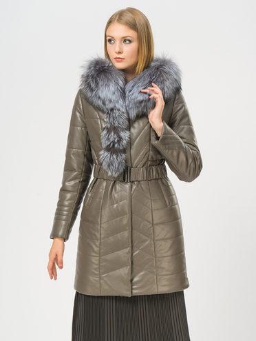 Кожаное пальто эко-кожа 100% П/А, цвет темно-серый, арт. 30109296  - цена 10590 руб.  - магазин TOTOGROUP