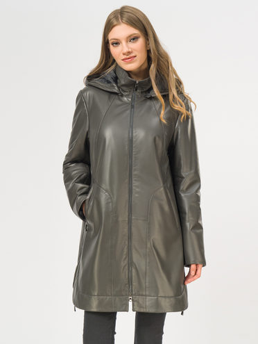 Кожаное пальто кожа, цвет темно-серый, арт. 30109534  - цена 21290 руб.  - магазин TOTOGROUP