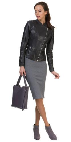 Кожаная куртка кожа овца, цвет темно-серый, арт. 30700024  - цена 10990 руб.  - магазин TOTOGROUP