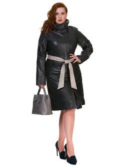Кожаное пальто кожа овца, цвет темно-серый, арт. 30700111  - цена 15990 руб.  - магазин TOTOGROUP