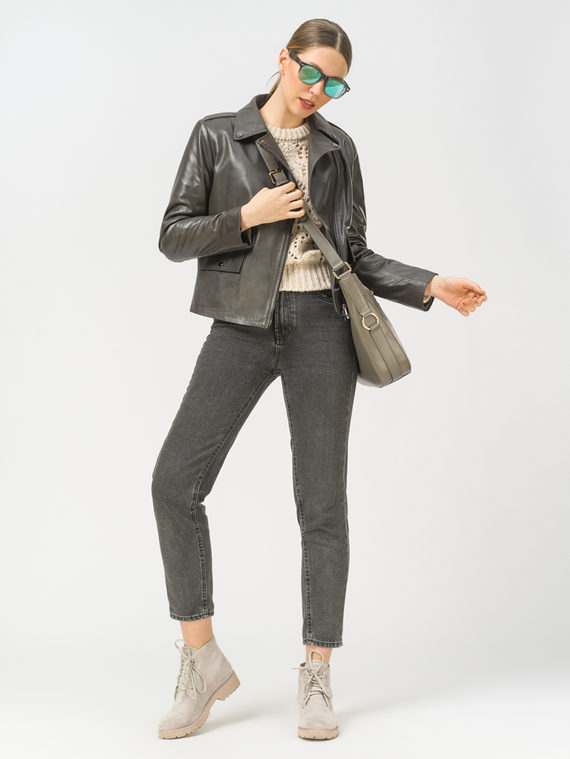 Кожаная куртка кожа, цвет темно-серый, арт. 30802487  - цена 9990 руб.  - магазин TOTOGROUP