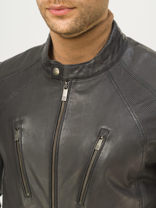 Кожаная куртка артикул 30809225/46 - фото 4