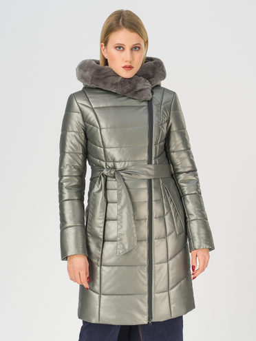 Кожаное пальто эко-кожа 100% П/А, цвет темно-серый, арт. 30810783  - цена 14190 руб.  - магазин TOTOGROUP