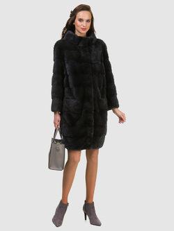 Шуба из норки мех норка крашеная, цвет темно-серый, арт. 30900849  - цена 105990 руб.  - магазин TOTOGROUP