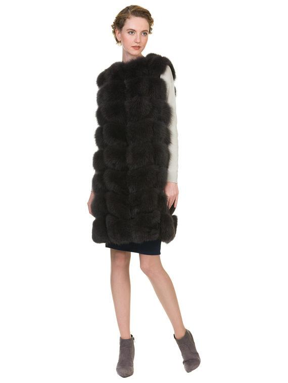 Меховой жилет мех песец, цвет темно-серый, арт. 30900918  - цена 11990 руб.  - магазин TOTOGROUP