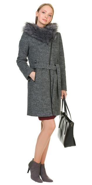 Текстильное пальто 30%шерсть, 70% п\а, цвет темно-серый, арт. 30901143  - цена 7990 руб.  - магазин TOTOGROUP