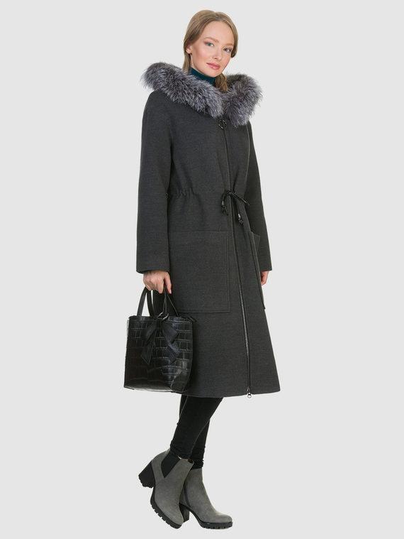 Текстильное пальто 50%шерсть, 50% п/а, цвет темно-серый, арт. 30902693  - цена 6990 руб.  - магазин TOTOGROUP