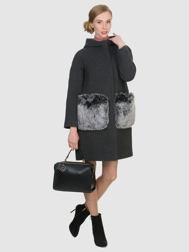 Текстильное пальто 50%шерсть, 50% п/а, цвет темно-серый, арт. 30902697  - цена 4490 руб.  - магазин TOTOGROUP