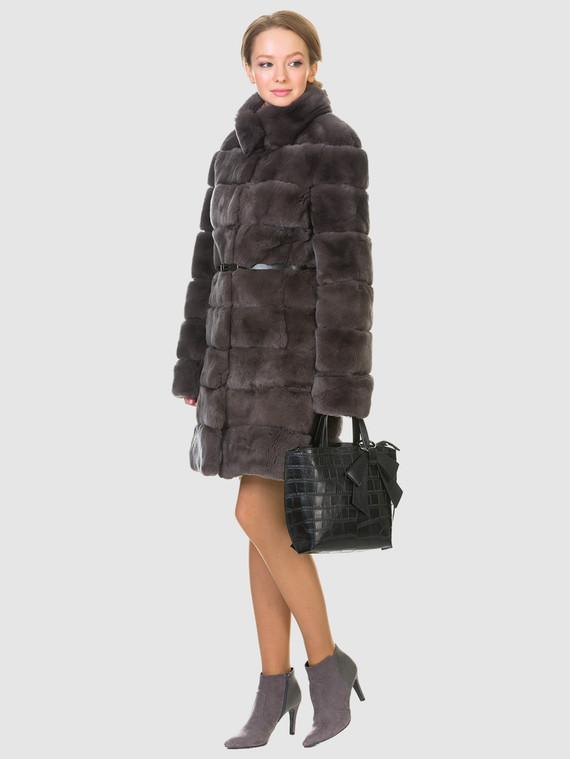Шуба из кролика мех кролик, цвет коричневый, арт. 30902712  - цена 29990 руб.  - магазин TOTOGROUP