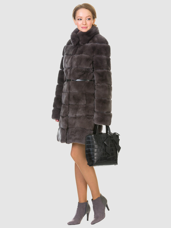 Шуба из кролика мех кролик, цвет коричневый, арт. 30902712  - цена 33990 руб.  - магазин TOTOGROUP