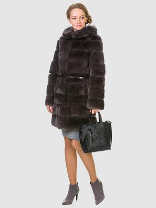 Шуба из кролика мех кролик, цвет темно-серый, арт. 30902713  - цена 31990 руб.  - магазин TOTOGROUP